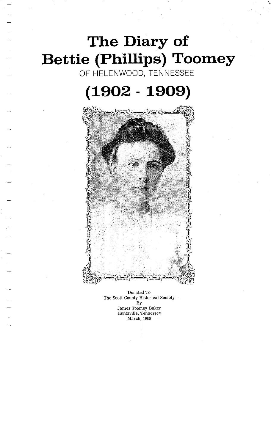 Tennessee scott county helenwood - The Diary Of Bettie Phillips Toomey